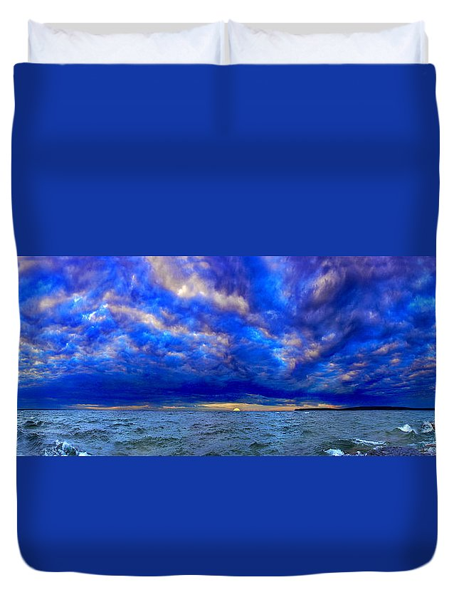 Sunset Duvet Cover featuring the photograph Paradise Is Blue by Tim Trombley