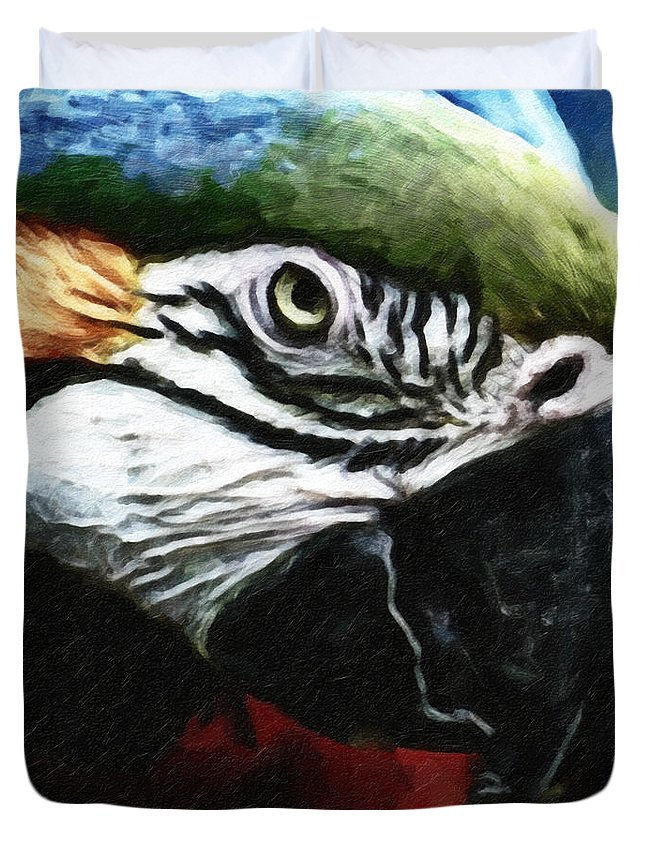 Bird Duvet Cover featuring the photograph Parrot 13 by Ingrid Smith-Johnsen
