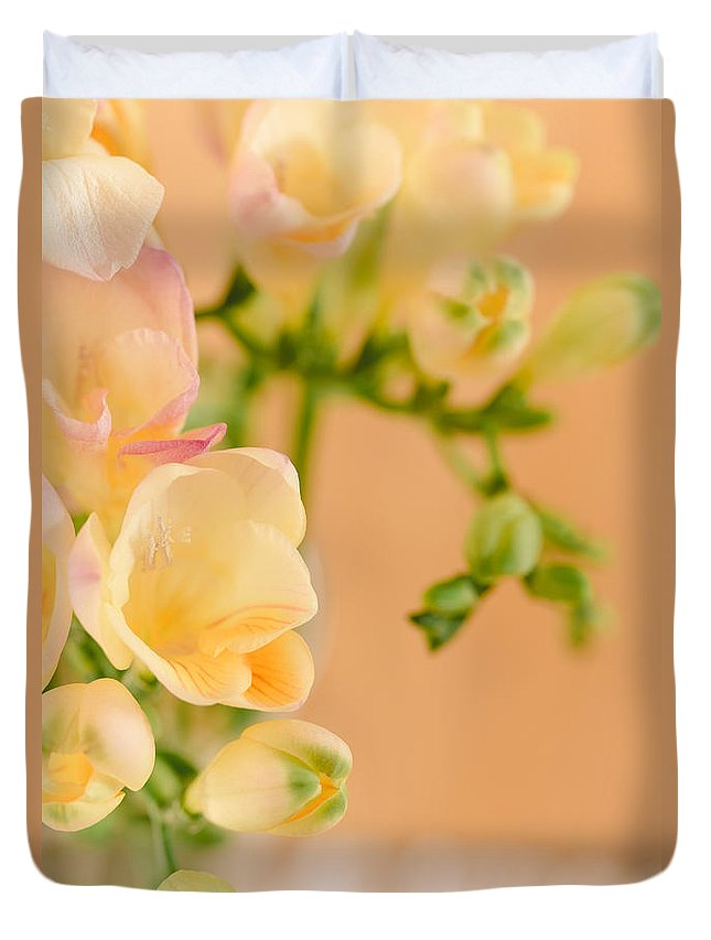 Flowers Duvet Cover featuring the photograph Pastel Dreams by Mary Smyth
