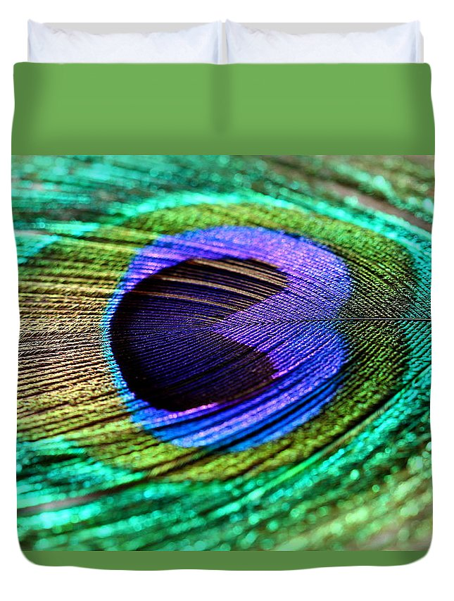 Peacock Feather Duvet Cover featuring the photograph Peacock Feather by Heike Hultsch