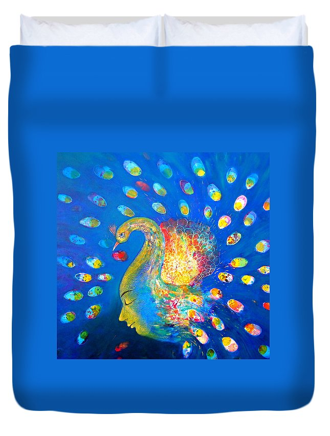Peacock Duvet Cover featuring the painting Peacock Life by Sanjay Punekar