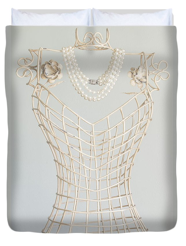 Antique Duvet Cover featuring the photograph Pearls by Margie Hurwich