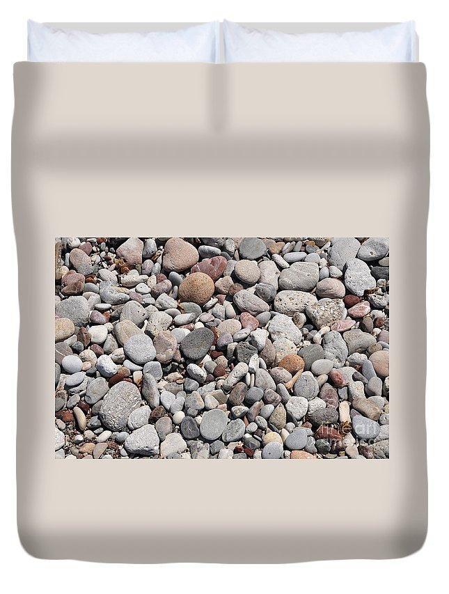 Pebble Duvet Cover featuring the photograph Pebbles by Luis Alvarenga