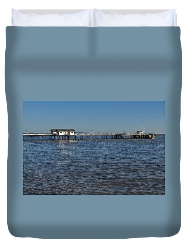 Penarth Pier Duvet Cover featuring the photograph Penarth Pier 3 by Steve Purnell