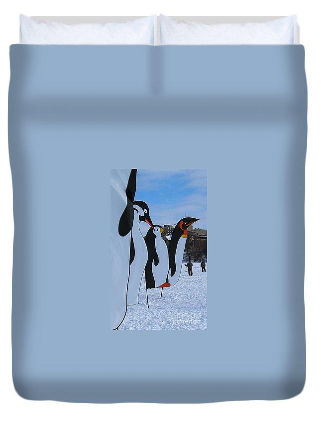 Snow Duvet Cover featuring the photograph Penguins by Steven Ralser