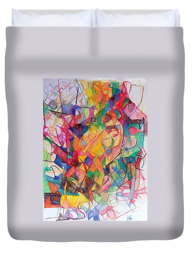 Torah Duvet Cover featuring the drawing Perpetual Encounter With Providence 6 by David Baruch Wolk
