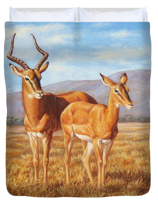 African Duvet Cover featuring the painting Persistence by Crista Forest