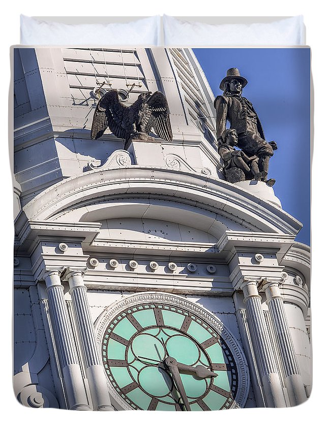 Architecture Duvet Cover featuring the photograph Philadelphia City Hall Clock by Jerry Fornarotto