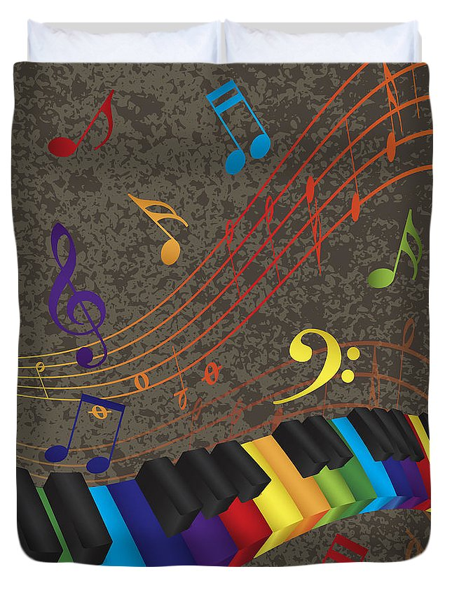Piano Duvet Cover featuring the photograph Piano Wavy Border With 3d Colorful Keys And Music Note by Jit Lim