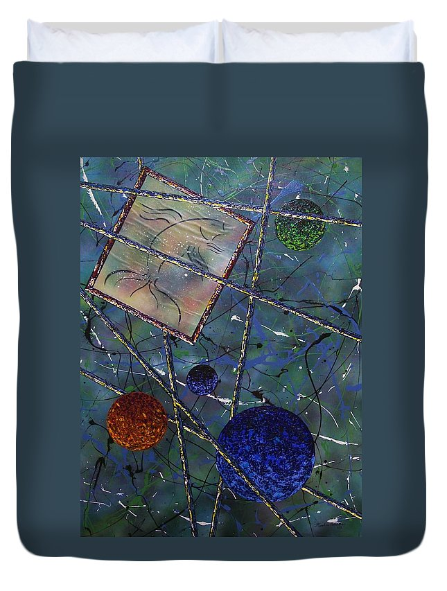 Fish Duvet Cover featuring the painting Pisces by Micah Guenther
