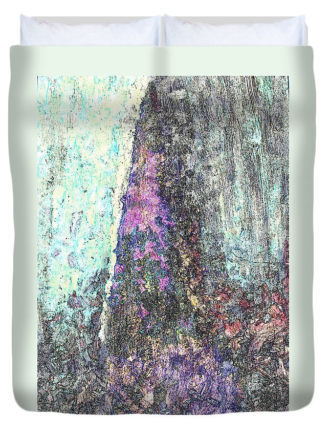 Pitons Duvet Cover featuring the mixed media Pitons by Ian MacDonald