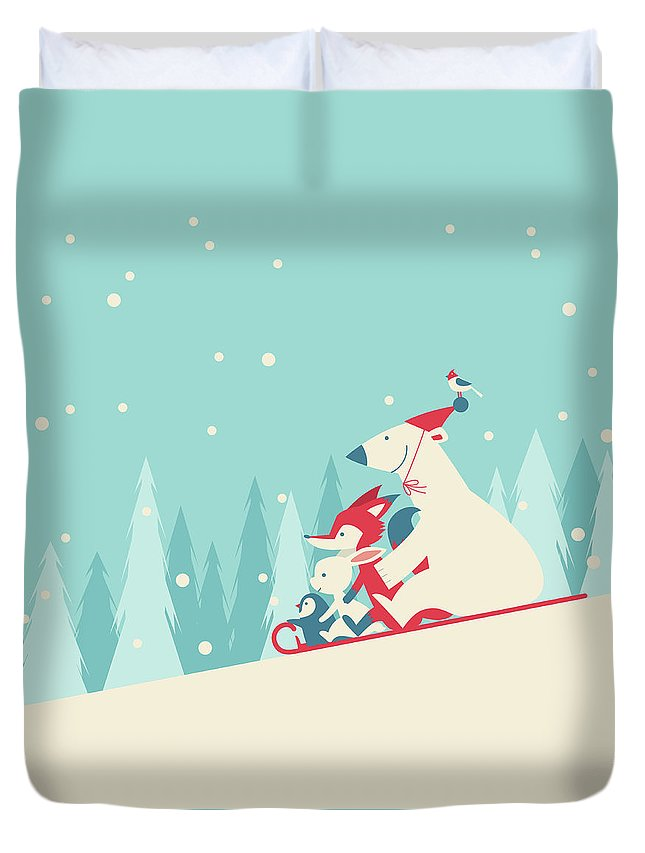 Snow Duvet Cover featuring the digital art Playing Snow Sled by Akindo