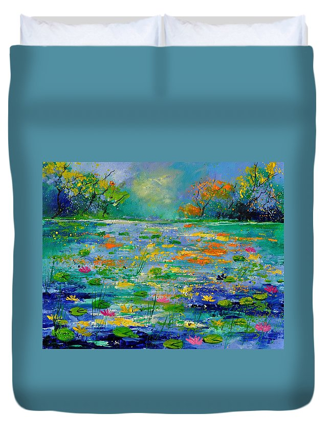 Landscape Duvet Cover featuring the painting Pond 454190 by Pol Ledent