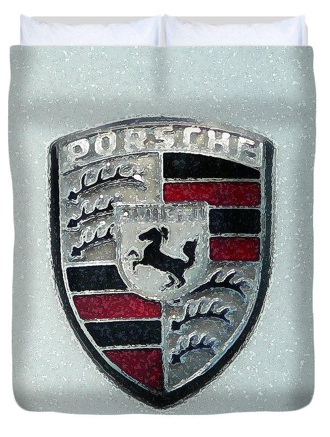 Porsche Duvet Cover featuring the painting Porsche Emblem by George Pedro