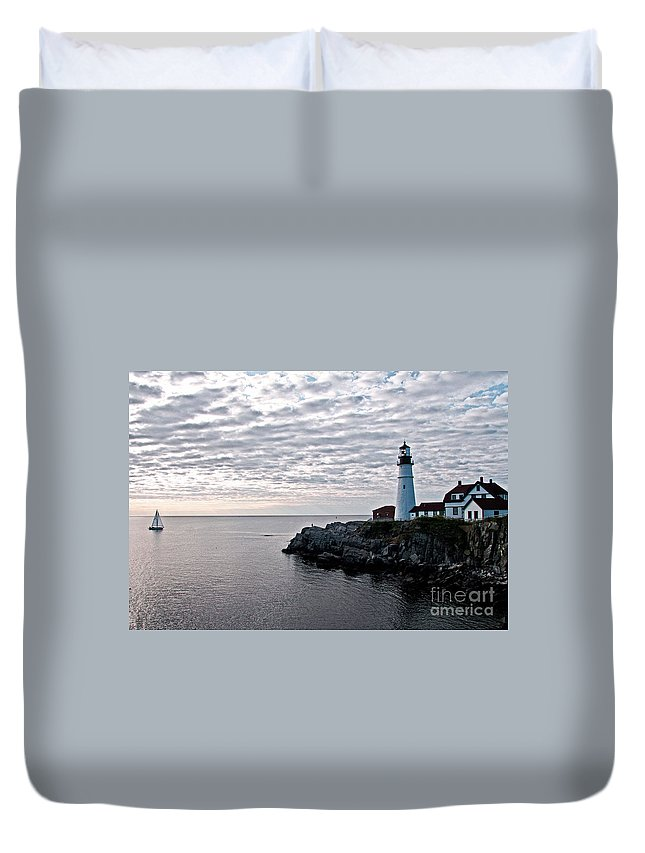 Portland Headlight Duvet Cover featuring the photograph Portland Head Light by Brenda Giasson