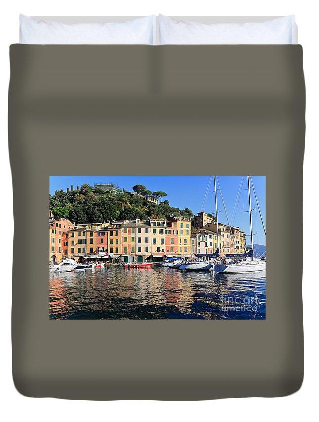 Architecture Duvet Cover featuring the photograph Portofino - Italy by Antonio Scarpi