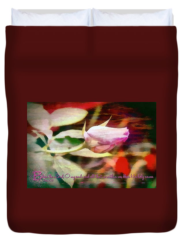 Jesus Duvet Cover featuring the digital art Psalm 103 1 by Michelle Greene Wheeler