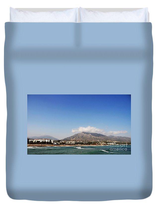 Beach Duvet Cover featuring the photograph Puerto Banus Beach by Luis Alvarenga
