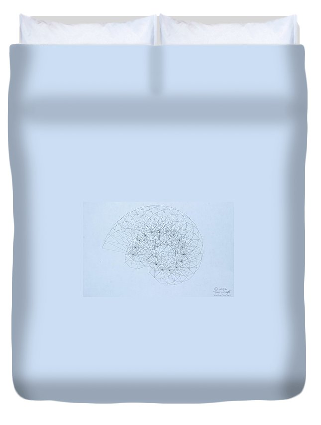 Jason Padgett Duvet Cover featuring the drawing Quantum Nautilus by Jason Padgett