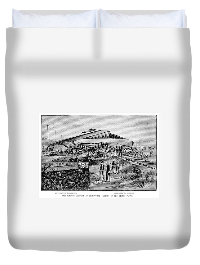 1887 Duvet Cover featuring the painting Railroad Accident, 1887 by Granger