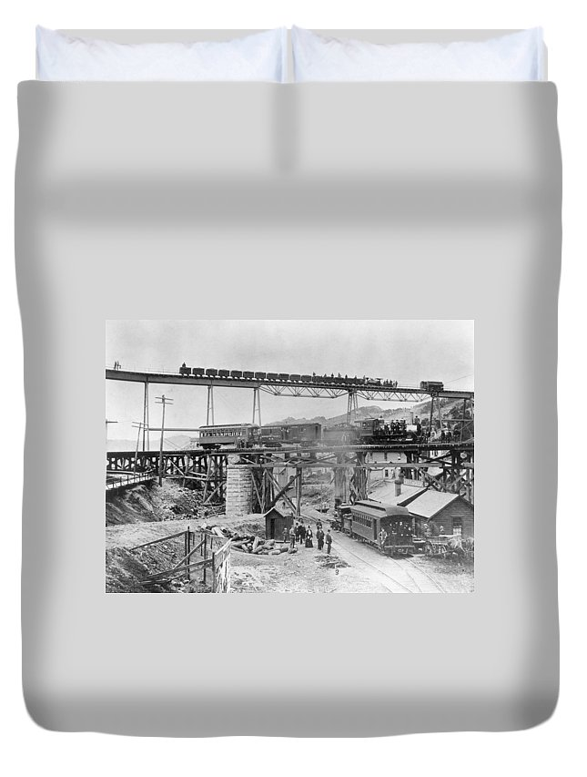 1890 Duvet Cover featuring the photograph Railroading Construction by Granger