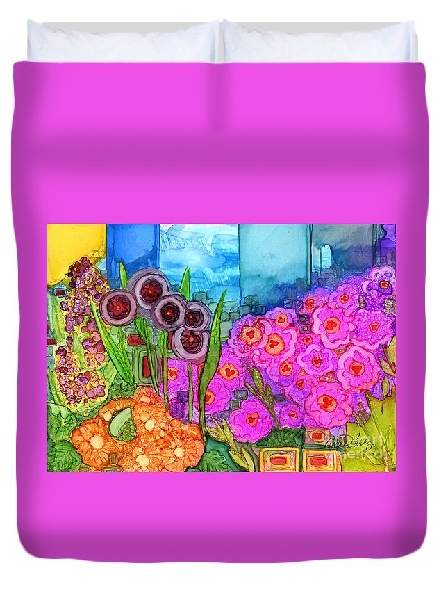 Abstract Duvet Cover featuring the painting Rain Is Coming by Vicki Baun Barry