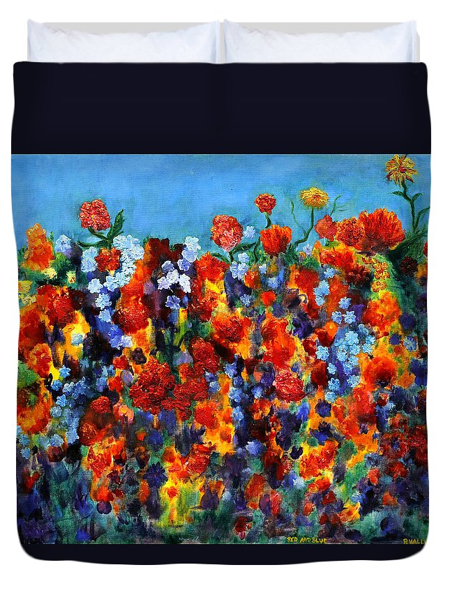 Floral Duvet Cover featuring the painting Red And Blue by Regina Valluzzi