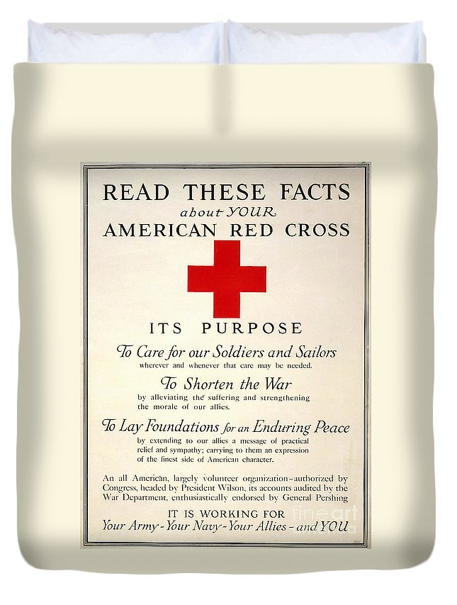 1917 Duvet Cover featuring the photograph Red Cross Poster, 1917 by Granger