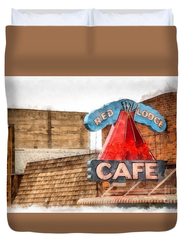 Sign Duvet Cover featuring the photograph Red Lodge Cafe Old Neon Sign by Edward Fielding