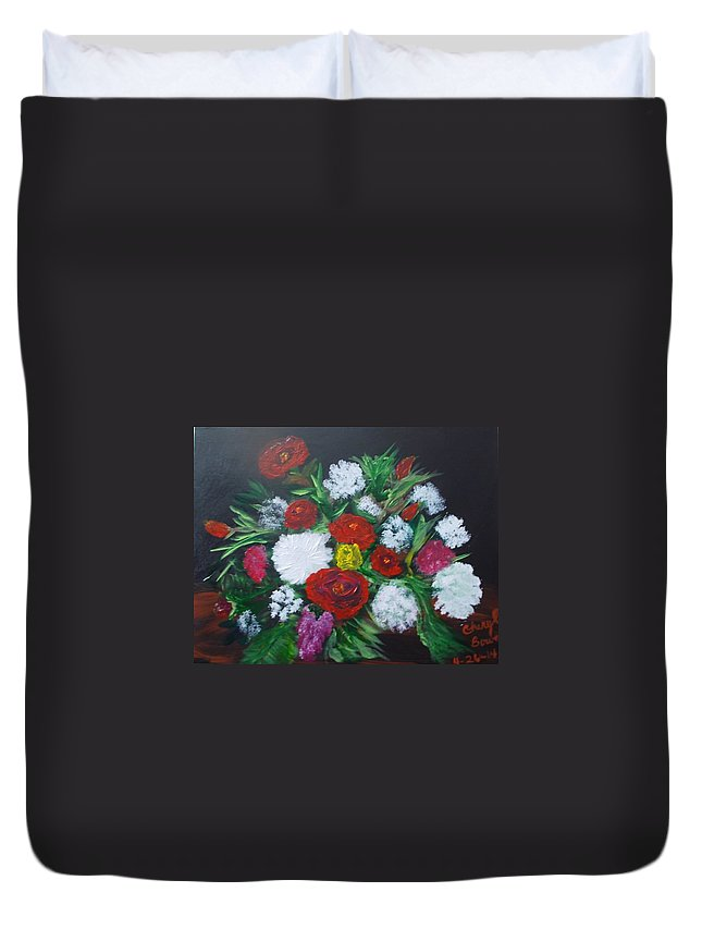 Red Roses. White Flowers Duvet Cover featuring the painting Red Roses by Cheryl Bowen-Hance