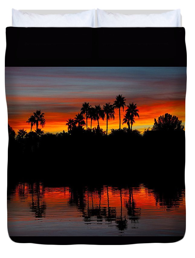 Sunrise Duvet Cover featuring the photograph Red Skies by Saija Lehtonen