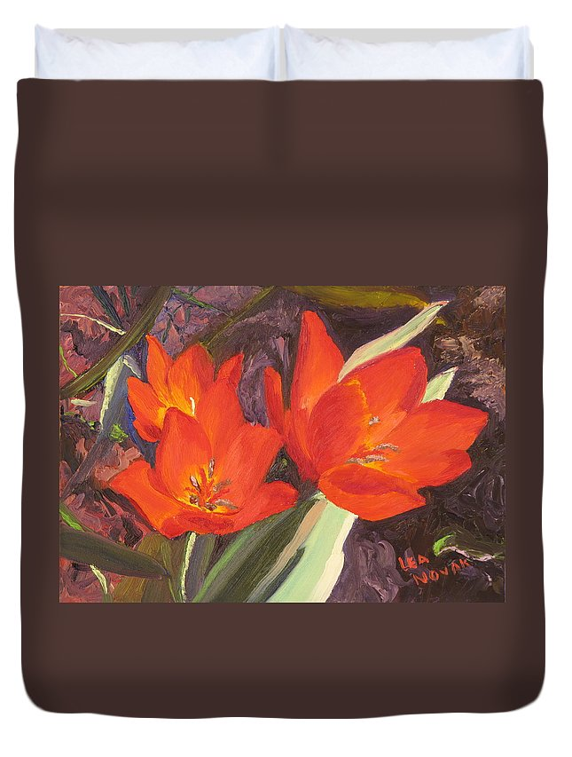 Flowers Duvet Cover featuring the painting Red Tulips by Lea Novak