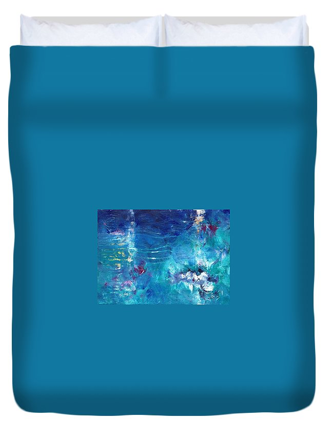 Landscape Duvet Cover featuring the painting Reflections by Abbie Groves