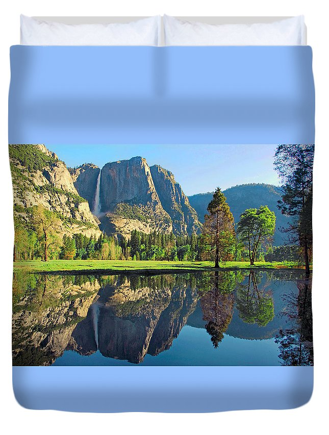 Yosemite National Park Duvet Cover featuring the photograph Reflections Of Yosemite Falls by Lynn Bauer