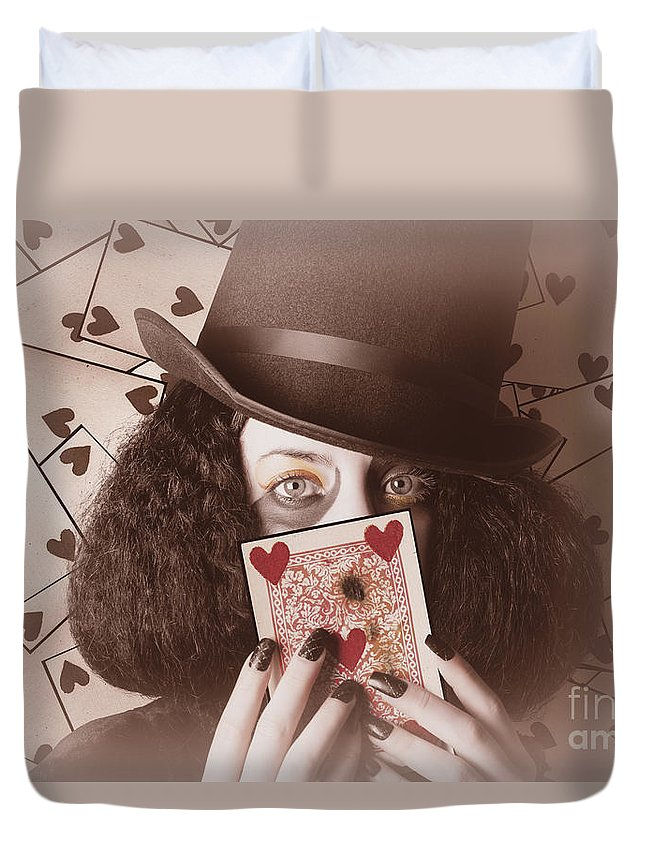 Poker Duvet Cover featuring the photograph Retro Magician Holding Burnt Playing Card by Jorgo Photography - Wall Art Gallery