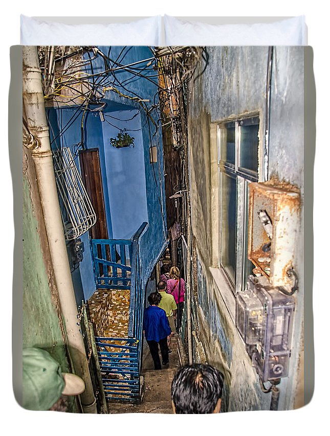 Favela Duvet Cover featuring the photograph Rio De Janeiro Brazil - Favela Housing by Jon Berghoff