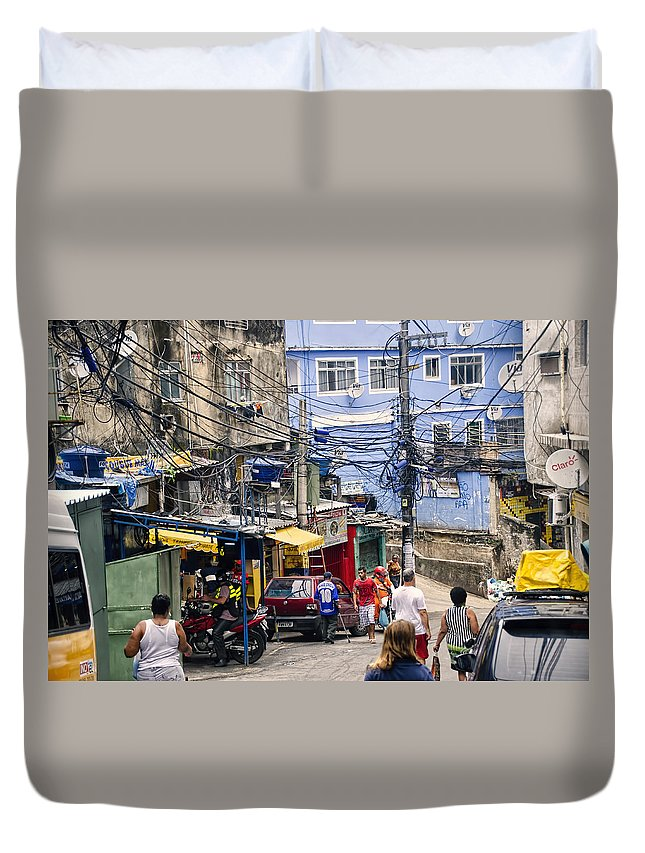 Favela Duvet Cover featuring the photograph Rio De Janeiro Brazil - Favela by Jon Berghoff