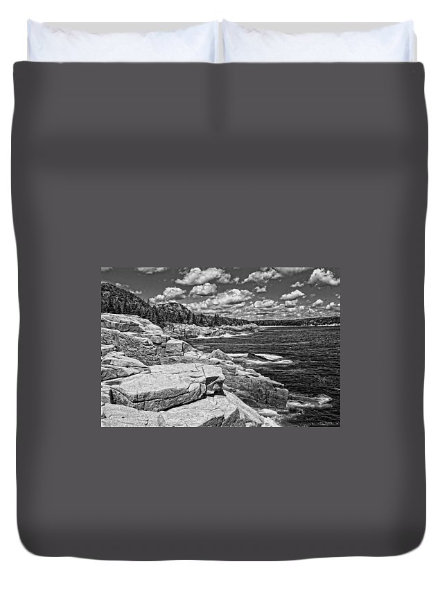 Maine Duvet Cover featuring the photograph Rocky Summer Seascape Acadia National Park Photograph by Keith Webber Jr