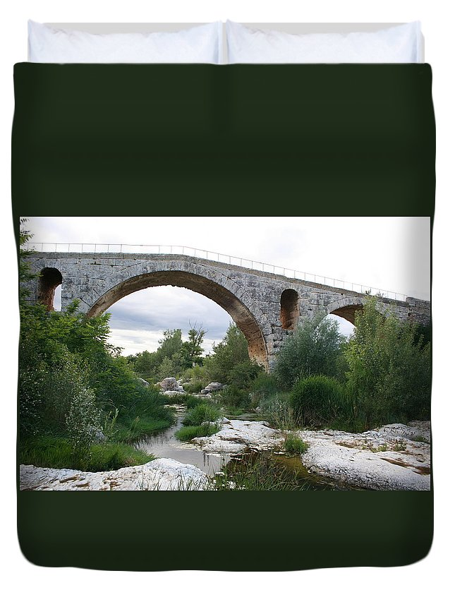 Roman Stonebridge Duvet Cover featuring the photograph Roman Arch Bridge Pont St. Julien by Christiane Schulze Art And Photography
