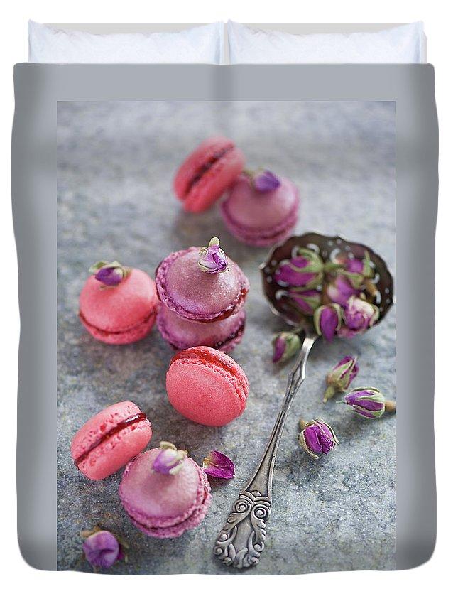 Stuffed Duvet Cover featuring the photograph Rose Macarons by Verdina Anna