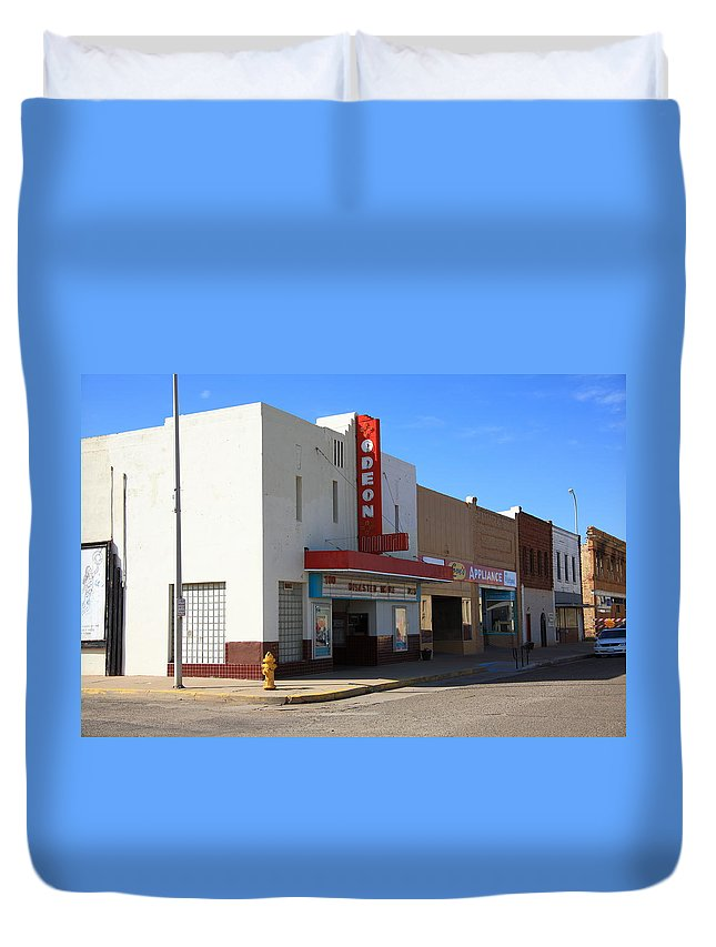 66 Duvet Cover featuring the photograph Route 66 - Odeon Theater by Frank Romeo