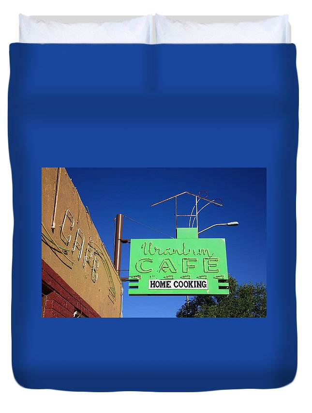 66 Duvet Cover featuring the photograph Route 66 - Uranium Cafe by Frank Romeo