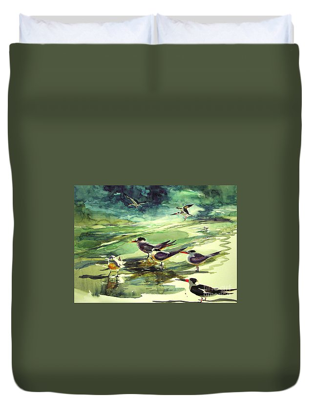 Watercolor Duvet Cover featuring the painting Royal Terns And Black Skimmers by Julianne Felton