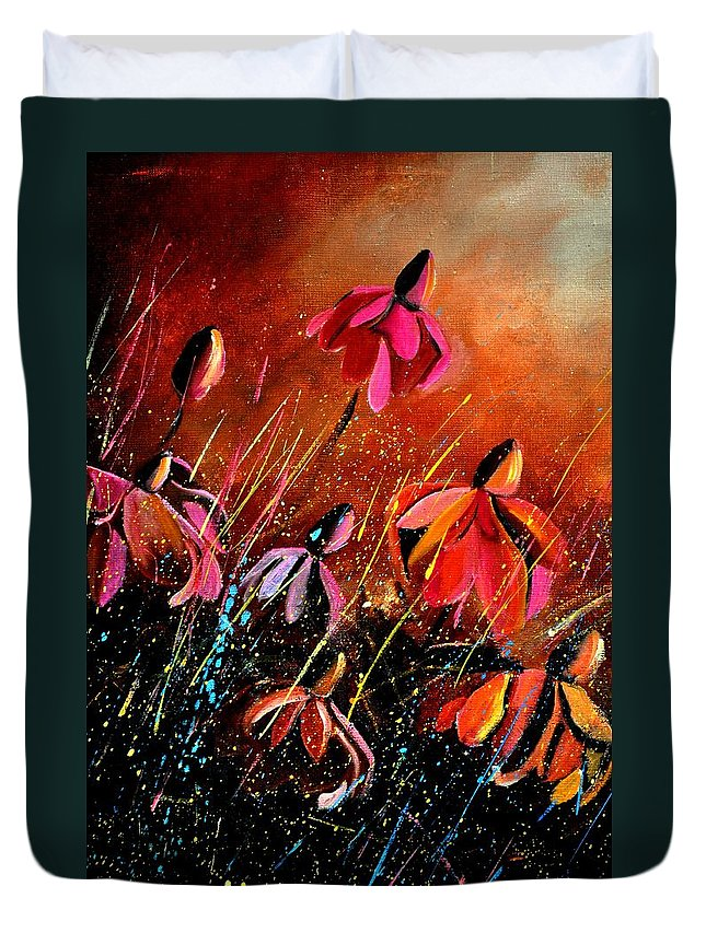 Flowers Duvet Cover featuring the painting Rudbeckias by Pol Ledent