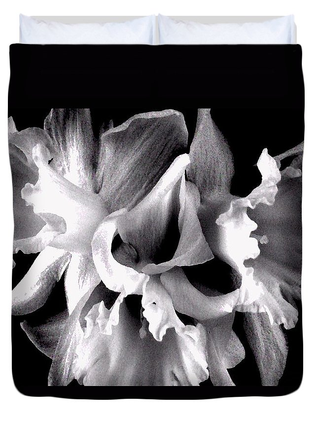 Ruffles Duvet Cover featuring the photograph Ruffled Daffodils by Marianne Dow