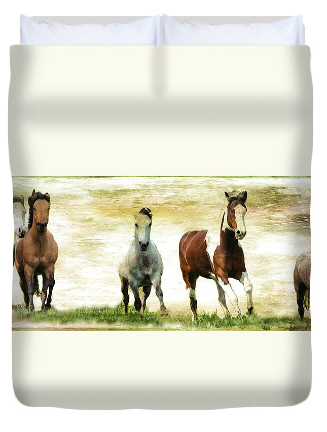 Horses Duvet Cover featuring the photograph Running Wild by Athena Mckinzie