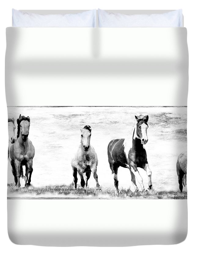 Horses Duvet Cover featuring the photograph Running Wild Black And White by Athena Mckinzie