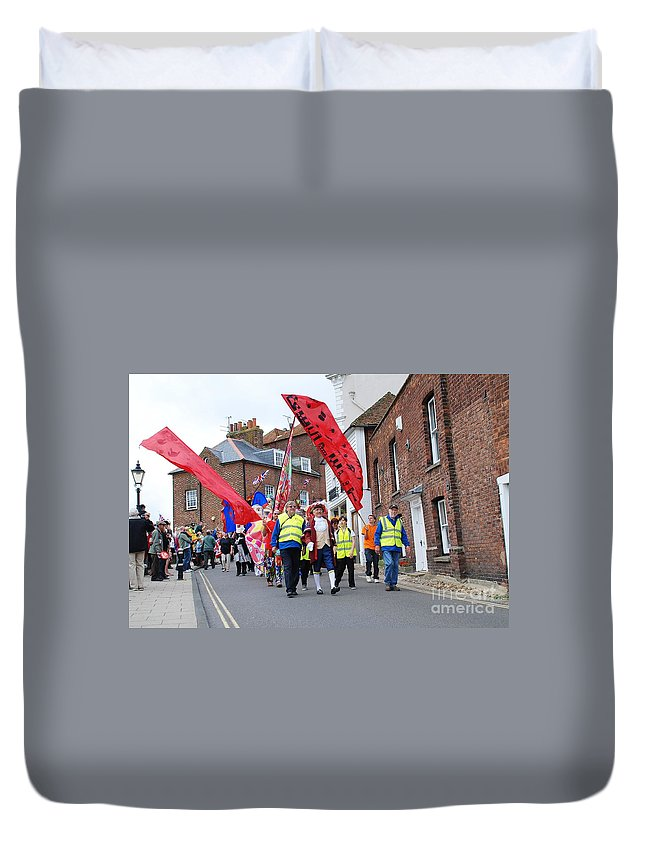 Olympic Duvet Cover featuring the photograph Rye Olympic Torch Relay Parade by David Fowler