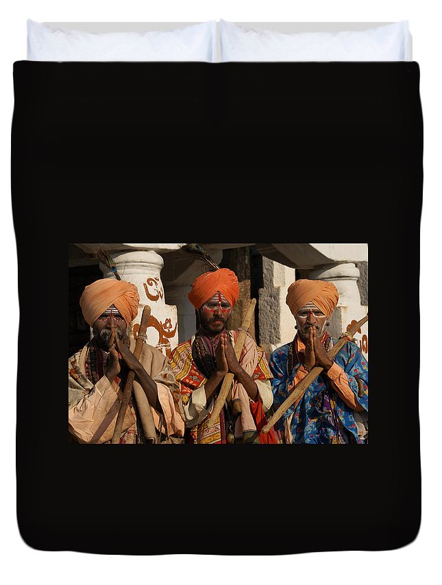 Hampi Duvet Cover featuring the digital art Sadus Holy Men Of India by Carol Ailles