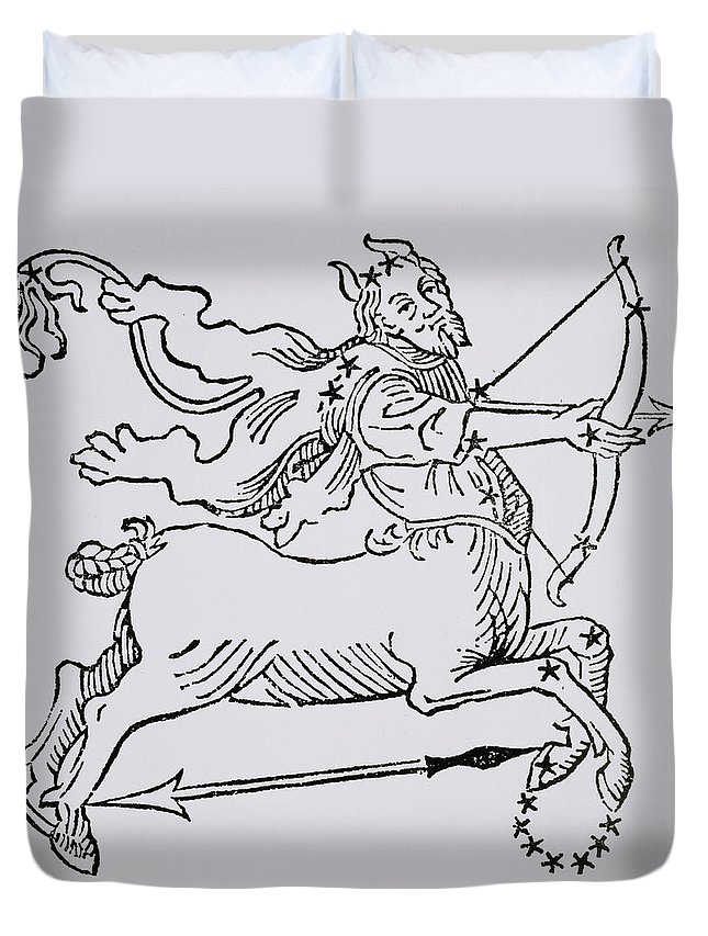 Sagittarius Duvet Cover featuring the drawing Sagittarius by Italian School